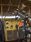 LINDE VI-400 MIG WELDER WITH LINDE WIRE FEEDER, JIB ARM WITH TROLLEY, CABLES & GUN, S/N: