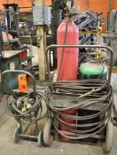LOT/ OXY-ACETYLENE TANK CADDIES WITH TORCHES, GAUGES & HOSES (TANKS NOT INCLUDED)