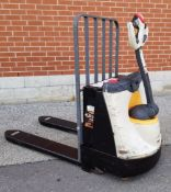 CROWN WP2335-45 4500 LB. CAPACITY 24V WALK-BEHIND ELECTRIC PALLET JACK WITH CHARGER, 3168 HRS (