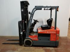 """TOYOTA (2005) 7FBEU18 3500 LB. CAPACITY 48V 3-WHEEL ELECTRIC FORKLIFT WITH 198"""" MAX. VERTICAL"""