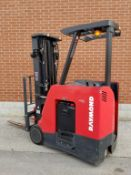 """RAYMOND (2014) 4250-C35TT 3500 LB. CAPACITY 36V STAND-UP ELECTRIC FORKLIFT WITH 195"""" MAX. VERTICAL"""