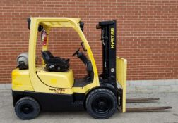 """HYSTER H50FT 5000 LB. CAPACITY LPG FORKLIFT WITH 189"""" MAX. VERTICAL LIFT, 3 STAGE MAST, SIDE"""