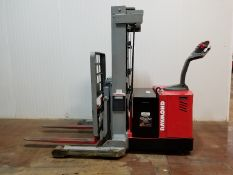 """RAYMOND D3RA 3000 LB. CAPACITY 24V WALK-BEHIND ELECTRIC REACH STACKER WITH 153"""" MAX. VERTICAL"""