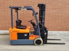 """TOYOTA (2006) 7FBEU18 3500 LB. CAPACITY 48V 3-WHEEL ELECTRIC FORKLIFT WITH 189"""" MAX. VERTICAL"""
