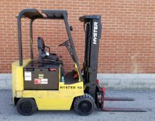 """HYSTER E50XL 5000 LB. CAPACITY 48V ELECTRIC FORKLIFT WITH 187"""" MAX. VERTICAL LIFT, 3 STAGE MAST,"""