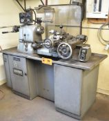"""HARDINGE SUPER-PRECISION TURRET LATHE WITH 12"""" SWING OVER BED, 12"""" BETWEEN CENTERS, SPEEDS TO 3000"""