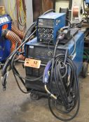 MILLER DELTAWELD 452 DIGITAL MIG WELDER WITH MILLER 60 TWIN REEL WIRE FEEDER, CABLES AND GUNS, S/