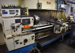 """TOS 50C GAP BED ENGINE LATHE WITH 20"""" SWING OVER BED, 84"""" BETWEEN CENTERS, 2"""" SPINDLE BORE, SPEEDS"""
