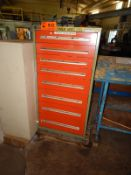 LOT/ ROUSSEAU 8 DRAWER TOOL CABINET, STEEL TABLE AND 4 DRAWER STORAGE CABINET