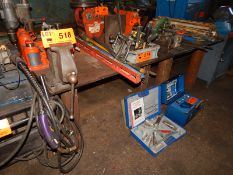 LOT/ (2) HEAVY DUTY STEEL WELDING TABLES WITH BENCH VISE (DELAYED DELIVERY)