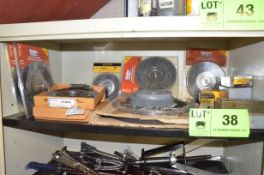 LOT/ CONTENTS OF SHELF - ABRASIVE AND WIRE WHEELS