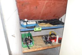 LOT/ CONTENTS OF SHELF - ELECTRICAL FISH TAPE, SOLDERING IRON, PARTS AND COMPONENTS