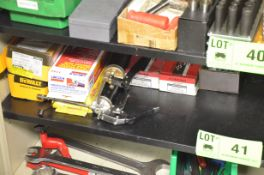 LOT/ CONTENTS OF SHELF - GREASE GUNS AND FLOOR ANCHORS