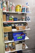 LOT/ SHELVES AND CONTENTS - OILS, LUBRICANTS AND HARDWARE