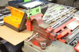 """101"""" x 40"""" STEEL TEAR-DOWN WORK BENCH WITH WILTON 6"""" VISE, RUN-OFF COLLECTION THROUGH"""