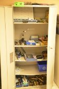 LOT HIGHBOY CABINET WITH CONTENTS - INSPECTION EQUIPMENT, GAGES, DIGITAL WEATHER STATIONS, PARTS AND