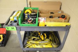 LOT/ (2) VGD 1-1/2 TON COME-A-LONGS, SHACKLES, EYE BOLTS, LIFTING SLINGS AND FALL ARREST HARNESSES