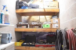 LOT/ CONTENTS OF SHELVES - PPE, HYDRAULIC SERVICE TOOLS, PNEUMATIC DRUM VACS, PARTS AND SUPPLIES