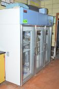 REVCO THERMO SCIENTIFIC REC7504A20 3-SECTION LAB REFRIGERATOR WITH GLASS DOORS, S/N