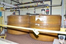 LOT/ (2) 5,000 LITER CAPACITY COMPOSITE HOLDING TANKS WITH PROMINENT SIGMA DIGITAL METERING PUMPS,