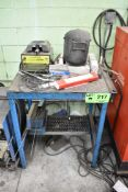 LOT/ STEEL TABLE WITH MASTERCRAFT HOME-SHOP WELDER AND SUPPLIES
