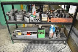 LOT/ RACK WITH CONTENTS CONSISTING OF SET UP BLOCKS, CLAMPING, AND HARDWARE (LOCATED IN WINDSOR,