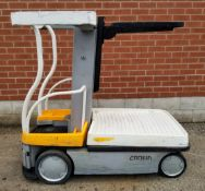 """CROWN (2008) WAV50-118 24V ELECTRIC ORDER PICKER WITH 550 LB. CAPACITY, 118"""" MAX. LIFT HEIGHT,"""