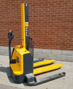 """JUNGHEINRICH EMC B10 24V ELECTRIC WALK-BEHIND PALLET STACKER WITH 2200 LB. CAPACITY, 64"""" MAX. LIFT"""