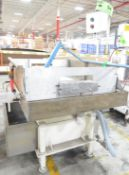 """MFG UNKNOWN APPROX. 48"""" X 39"""" X 12"""" STAINLESS STEEL WATER COOLING BATH WITH PUMP, HOSES AND NOZZLES,"""