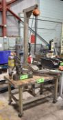 LOT/ ROLLING WORKBENCH WITH WORKPIECE LIFTING BEAM AND WESTWARD 1/2TON CHAIN HOIST