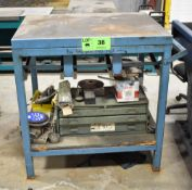 LOT/ STEEL WORKBENCH WITH CONTENTS CONSISTING OF ABRASIVE AND WELDING SUPPLIES