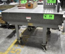 """MITUTOYO 36""""X48""""X6"""" GRANITE SURFACE PLATE WITH ROLLING STAND, S/N: N/A"""