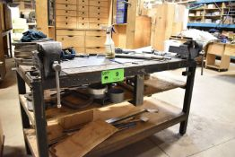 """LOT/ SHOP TABLE WITH (2) 4.5"""" BENCH VISES"""