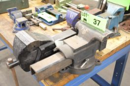 """LOT/ 8"""" SWIVEL BASE VISE AND 5"""" BENCH VISE [RIGGING FEE FOR LOT #37 - $20 USD PLUS APPLICABLE"""