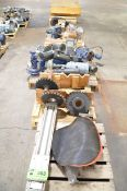 LOT/ (7) PALLETS WITH MOTORS, GEARBOXES AND MACHINERY PARTS [RIGGING FEE FOR LOT #503 - $50 USD PLUS
