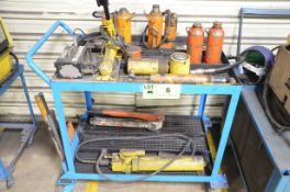 LOT/ ENERPAC HYDRAULIC CYLINDERS, HAND PUMPS AND HYDRAULIC JACKS WITH CART [RIGGING FEE FOR LOT #6 -