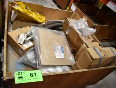 LOT/ CRATE OF MOBILE EQUIPMENT SPARE PARTS INCLUDING HYDRAULIC HOSES, AIR MOUNT ASSEMBLY, PURGE