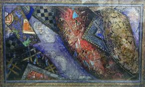20th century colour print, abstract, in blue and gilt, unsigned, 53cm x 90cm