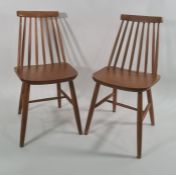 Set of four modern stickback chairs with plywood seats (4)