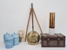 Five vintage enamel metal storage jars, a vintage metal and glass grinderandother items