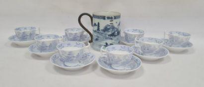 Probably late 18th century Chinese porcelain mug, cylindrical with underglazed blue lakeside