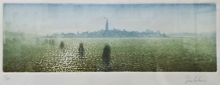 Twentieth century continental school Aquatint View of Venice from the lagoon, indistinctly signed in