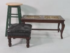 Beech seated stool, a low footstool and one further stool (3)  Condition ReportThe leather topped