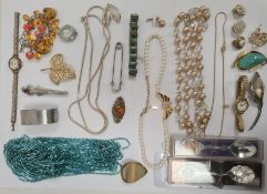 Quantity of costume jewellery to include pendants, necklaces, silver ring, silver miniature circular