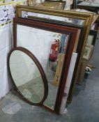 Rectangular gilt framed mirror, assorted modern prints, mirrors, etc