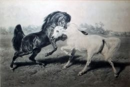 "After Rosa Bonheur, engraved by Joseph Pratt Engraving ""The Duel"", 61cm x 90cm"