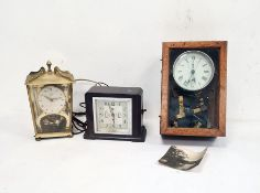 Early 20th century alarm clock in chrome case, modified and mounted in glazed wooden case to