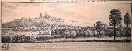 """After Samuel and Nathaniel Buck Engraving """"The South West Prospect of the City of Lincoln"""","""