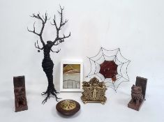 Modern wire tree sculpture, brass letter rack, pair stone temple dog bookendsand other items