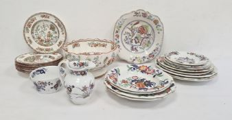 Quantity pieces 19th century ironstone china pottery with chinoiserie floral decoration, Copeland